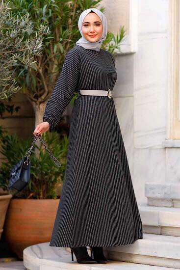 Neva - Çizgili Kemer Detaylı Siyah Tesettür Elbise Nva2006-5 (1)
