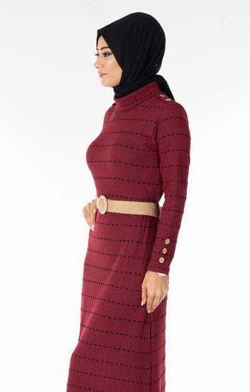 Efulim - Çizgili Kemerli Bordo Tesettür Elbise Efl5022-6 (1)