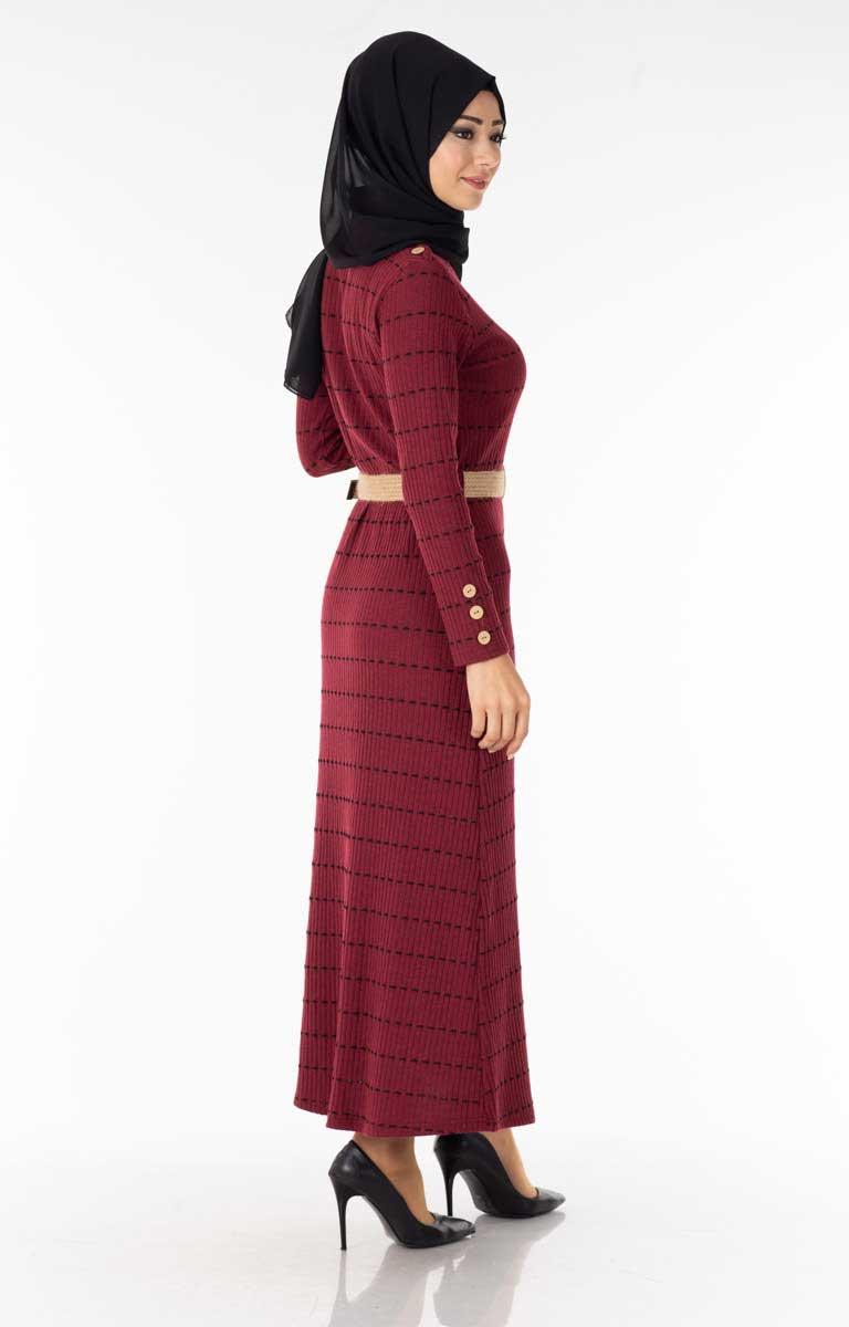 Çizgili Kemerli Bordo Tesettür Elbise Efl5022-6