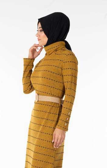 Efulim - Çizgili Kemerli Hardal Tesettür Elbise Efl5022-4 (1)