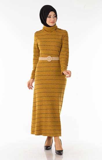 Çizgili Kemerli Hardal Tesettür Elbise Efl5022-4