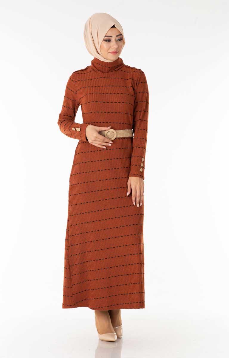 Çizgili Kemerli Kiremit Tesettür Elbise Efl5022-2