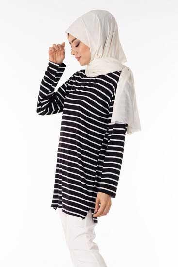TBT Tekstil - Çizgili Siyah Tesettür Tunik Tbt1480-2 (1)