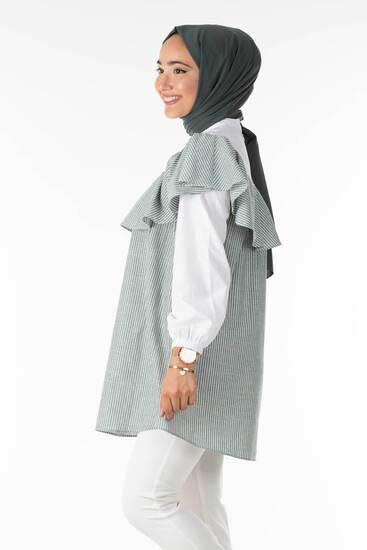 Clb Tekstil - Çizgili Volanlı Haki Tesettür Tunik Clb1307-1 (1)