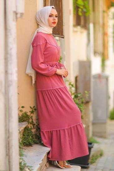 Gülen - Dantelli Gül Tesettür Elbise Gln1016-3 (1)