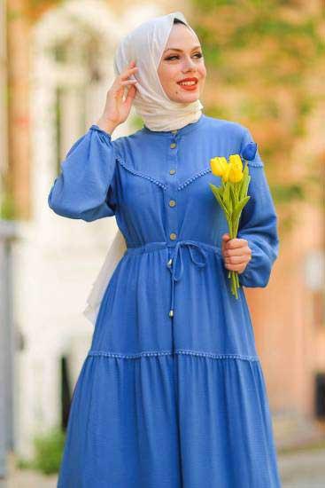 Gülen - Dantelli İndigo Tesettür Elbise Gln1016-5 (1)