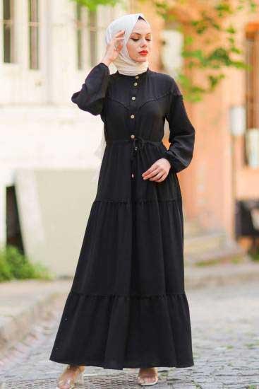 Gülen - Dantelli Siyah Tesettür Elbise Gln1016-6 (1)