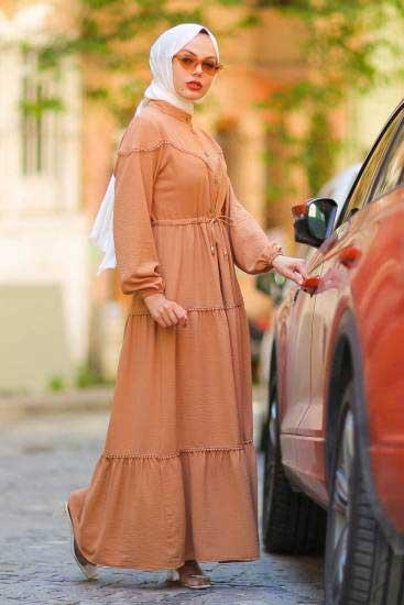 Gülen - Dantelli Taba Tesettür Elbise Gln1016-2 (1)