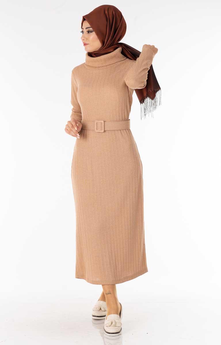 Degaje Yaka Kemerli Krem Tesettür Elbise Nsa5627-6