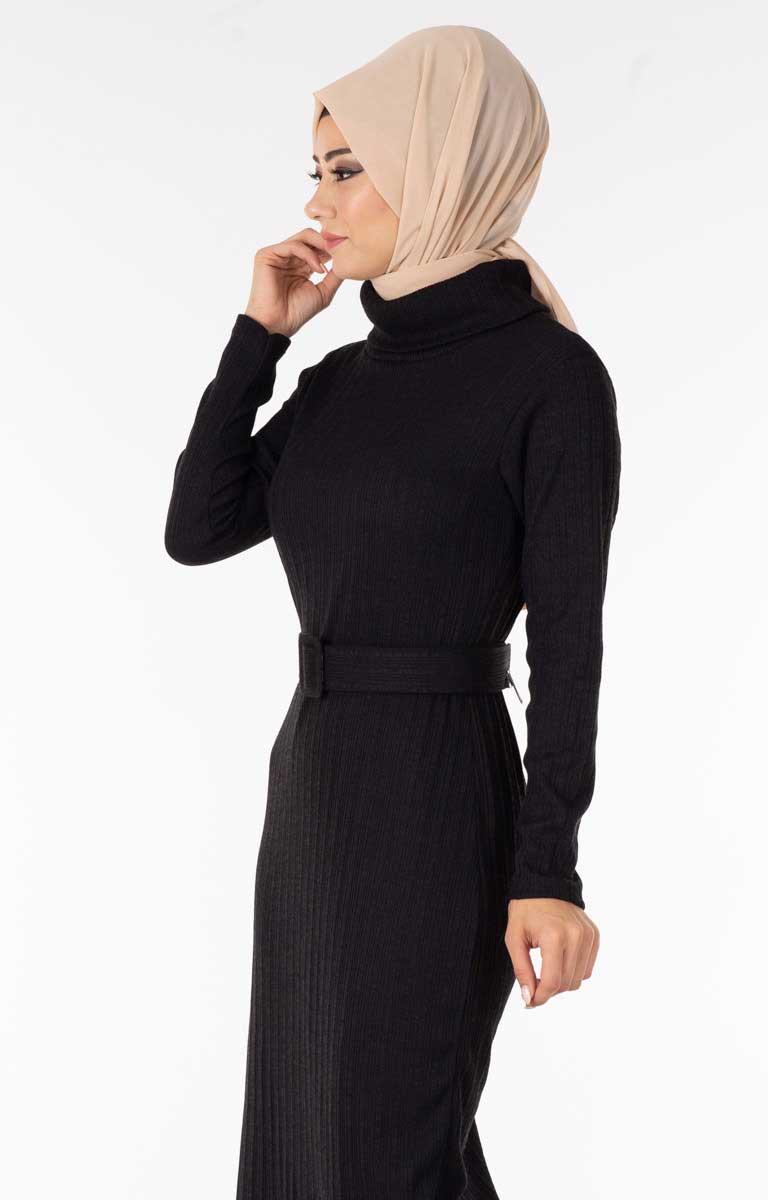 Degaje Yaka Kemerli Siyah Tesettür Elbise Nsa5627-5