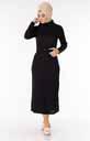 Degaje Yaka Kemerli Siyah Tesettür Elbise Nsa5627-5 - Thumbnail