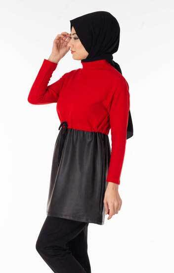 Destina - Deri Garnili Kırmızı Tesettür Tunik Dst2186-2 (1)