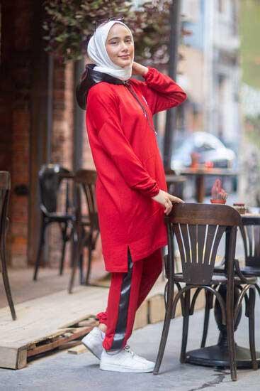 TBT Tekstil - Deri Kapşonlu Kırmızı İkili Takım Tbt2069-3 (1)