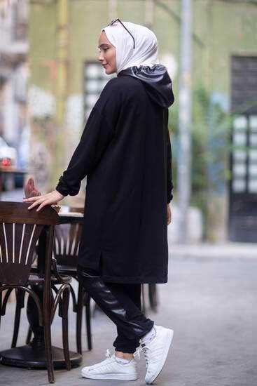TBT Tekstil - Deri Kapşonlu Siyah İkili Takım Tbt2069-2 (1)