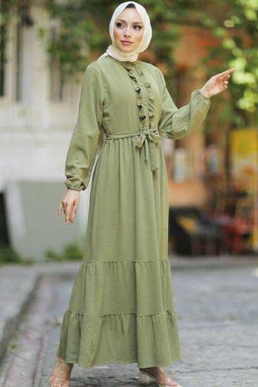 Mestura - Düğmeli F.Yeşil Toptan Tesettür Elbise Mst1017-7 (1)
