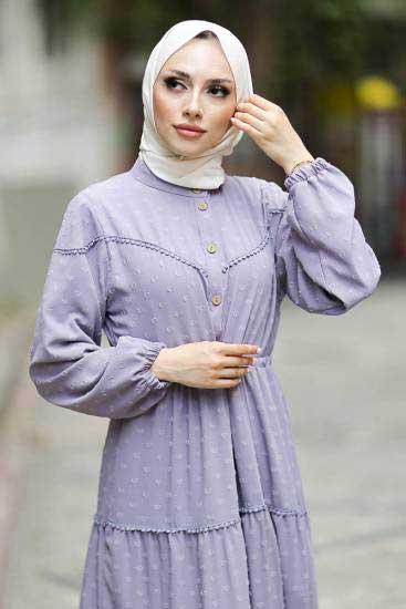 Gülen - Düğmeli Gri Tesettür Elbise Gln1021-3 (1)