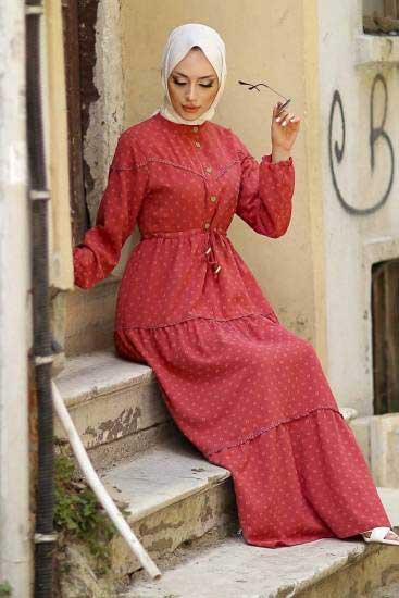 Gülen - Düğmeli Gül Tesettür Elbise Gln1021-1 (1)