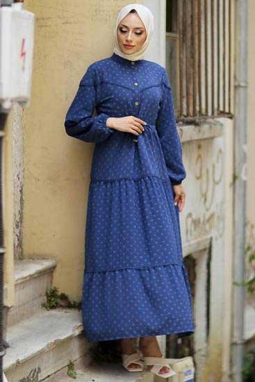 Gülen - Düğmeli İndigo Tesettür Elbise Gln1021-2 (1)