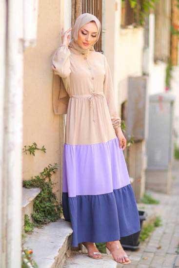 Gülen - Düğmeli Lila-Laci Tesettür Elbise Gln1019-1 (1)