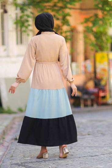 Gülen - Düğmeli Mint-Siyah Tesettür Elbise Gln1019-4 (1)