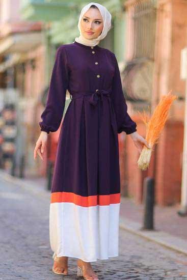 Gülen - Düğmeli Mor Tesettür Elbise Gln1020-3 (1)