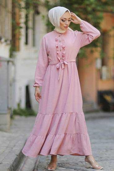 Mestura - Düğmeli Pudra Toptan Tesettür Elbise Mst1017-6 (1)