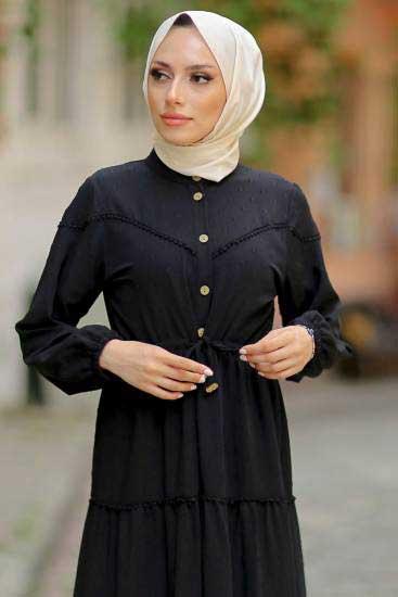 Gülen - Düğmeli Siyah Tesettür Elbise Gln1021-5 (1)