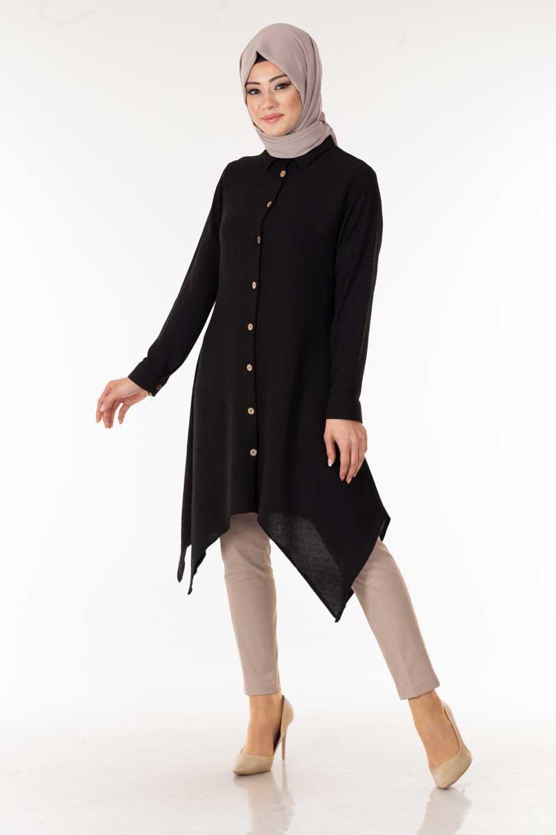 Düğmeli Siyah Tesettür Tunik Nfc5112-1