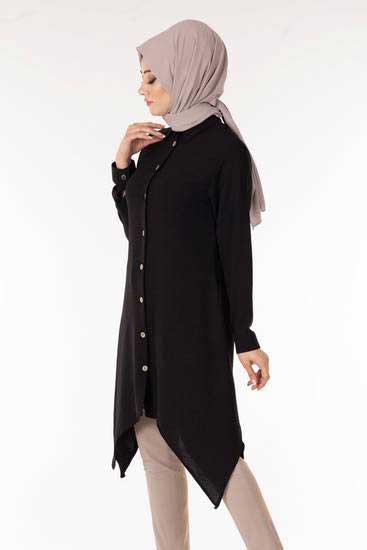 New Face - Düğmeli Siyah Tesettür Tunik Nfc5112-1 (1)