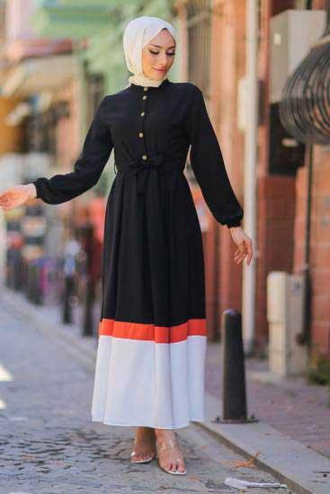 Mestura - Düğmeli Siyah Toptan Tesettür Elbise Mst1020-1 (1)