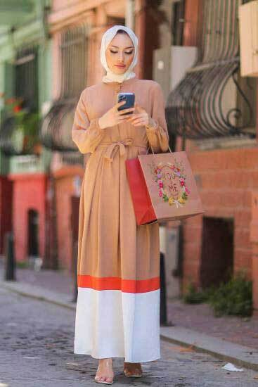 Gülen - Düğmeli Vizon Tesettür Elbise Gln1020-4 (1)