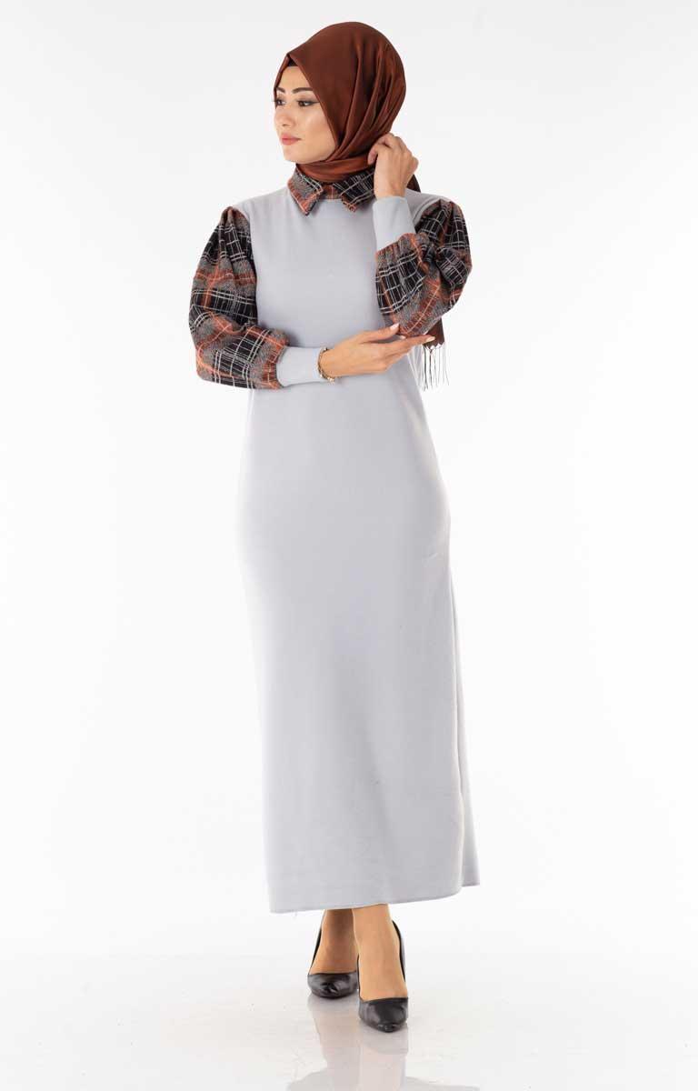 Ekose Garnili Gri Tesettür Elbise Znk6129-3