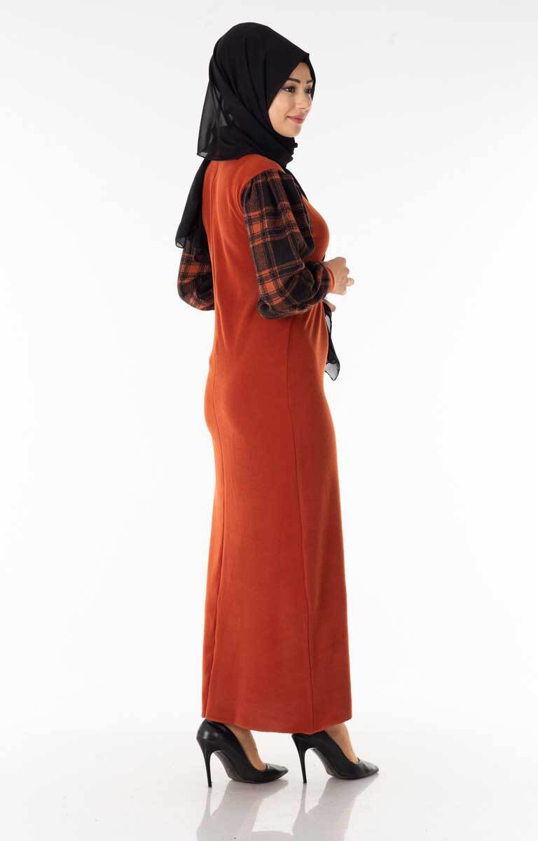 Ekose Garnili Kiremit-Siyah Tesettür Elbise Znk6129-1