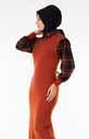 Ekose Garnili Kiremit-Siyah Tesettür Elbise Znk6129-1 - Thumbnail