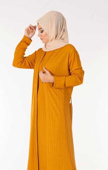 Nazenin - Elbise-Hırka Hardal Tesettür İkili Takım Nzn3030-5 (1)