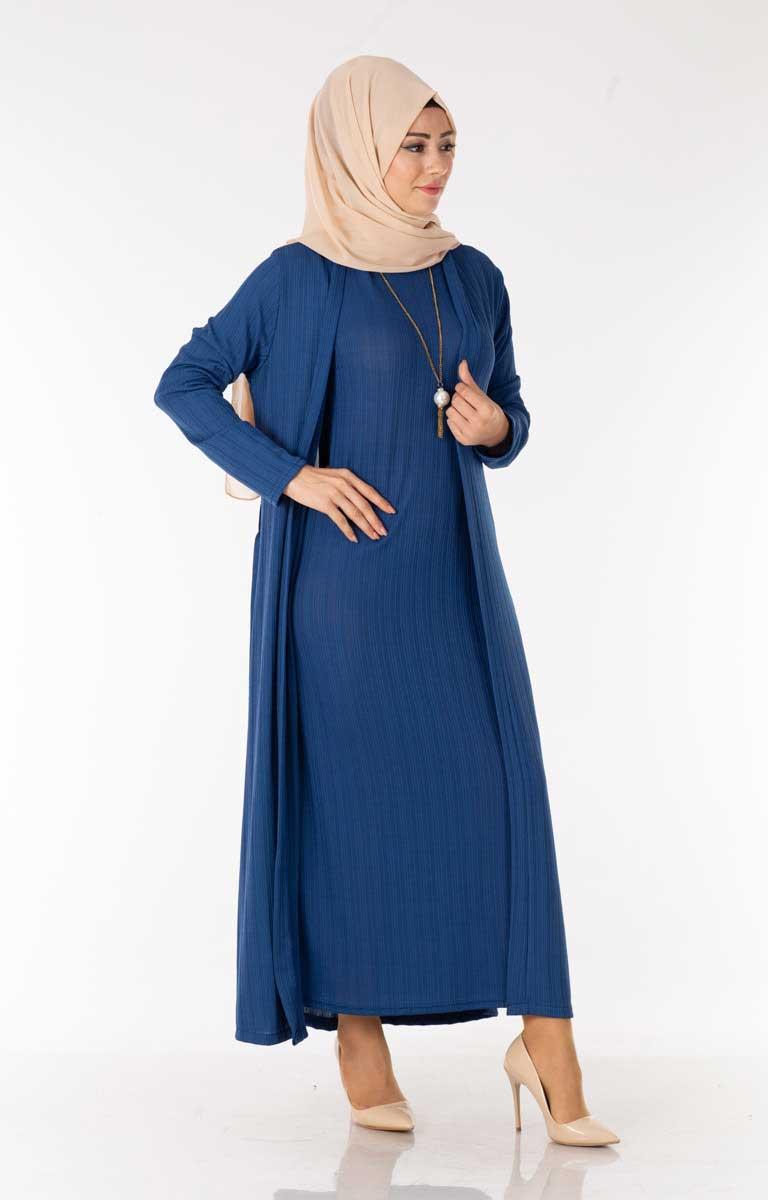 Elbise-Hırka İndigo Tesettür İkili Takım Nzn3030-4