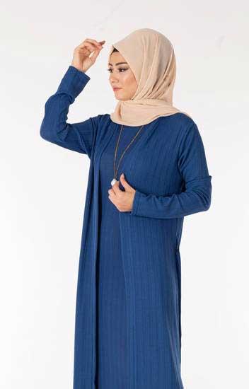 Nazenin - Elbise-Hırka İndigo Tesettür İkili Takım Nzn3030-4 (1)