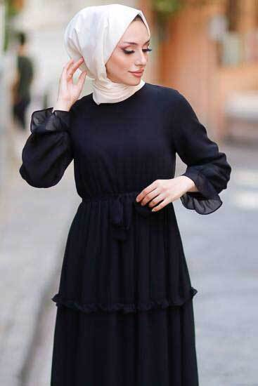Mestura - Eteği Fırfırlı Siyah Toptan Tesettür Elbise Mst5302-2 (1)