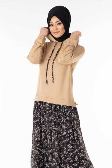 Nessia - Eteği Şifonlu Vizon Tesettür Elbise Nsa6097-1 (1)