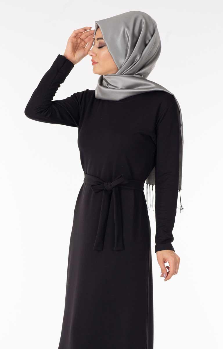 Eteği Tüllü Siyah Tesettür Elbise Efl5560-1