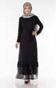 Eteği Tüllü Siyah Tesettür Elbise Efl5560-1 - Thumbnail
