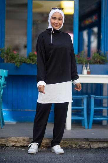 Nessia Butik - Fermuar Detay Siyah İkili Takım Nsa6332-3 (1)