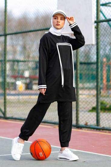 Nessia Butik - Fermuar İpli Siyah Tesettür İkili Takım Nsa6532-2 (1)