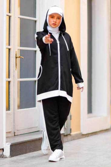 Nessia Butik - Fermuarlı Siyah Tesettür İkili Takım Nsa6515-1 (1)