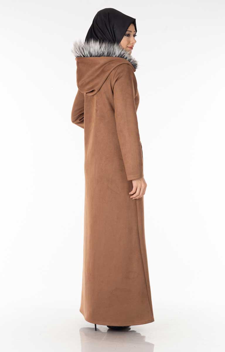 Fermuarlı Süet Camel Tesettür Ferace Ydz4800-3