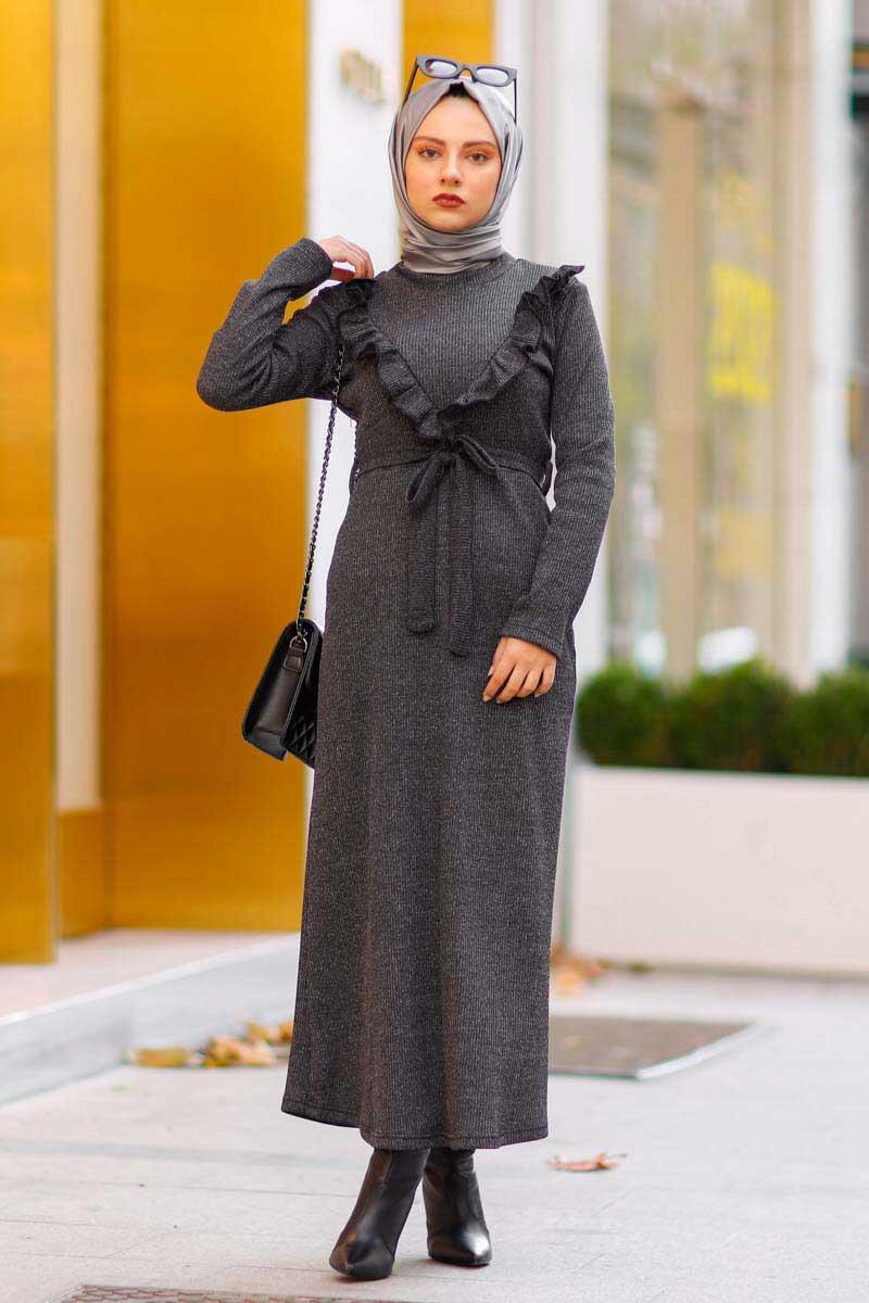 New Face - Fırfırlı Antrasit Tesettür Elbise Nfc4031-4 (1)