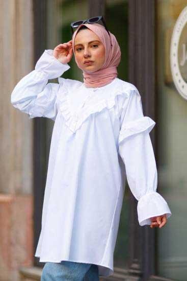 Gülen - Fırfırlı Beyaz Tesettür Tunik Gln1011-1 (1)