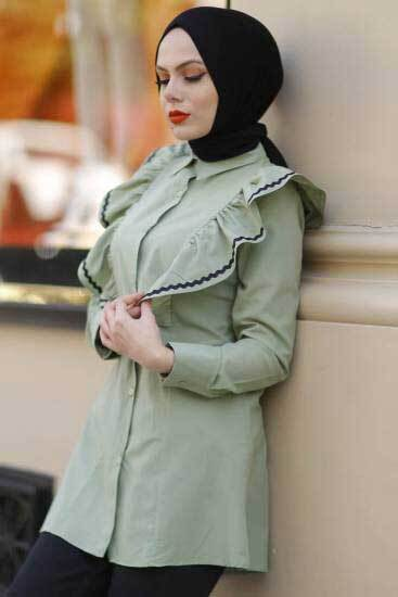 New She Fashion - Fırfırlı F.Yeşili Tesettür Gömlek Nsf1428-4 (1)