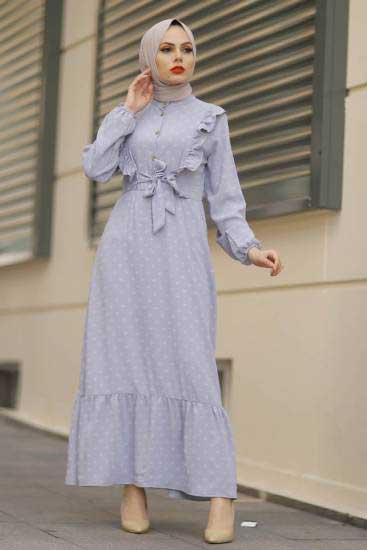 Gülen - Fırfırlı Gri Tesettür Elbise Gln1013-3 (1)