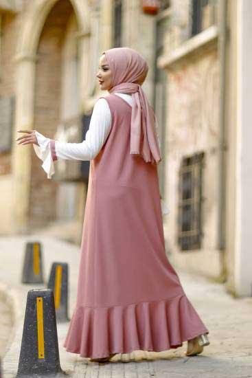 Nessia Butik - Fırfırlı Gül Tesettür Elbise Nsa6595-1 (1)